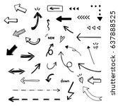 vector set of arrow  hand drawn ...   Shutterstock .eps vector #637888525