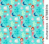 seamless pattern with mermaid.... | Shutterstock .eps vector #637888546