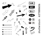 arrow  hand drawn icons  ... | Shutterstock .eps vector #637888606