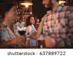 jealous woman looking at couple ... | Shutterstock . vector #637889722