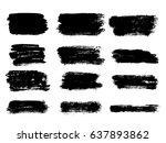 set of black paint  ink brush... | Shutterstock .eps vector #637893862
