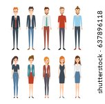set of young people chracter.... | Shutterstock .eps vector #637896118