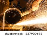 industry worker cutting metal... | Shutterstock . vector #637900696