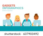people with gadgets | Shutterstock .eps vector #637903492