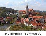 city view of cesky krumlov  ... | Shutterstock . vector #637903696