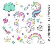 unicorn pop art collection | Shutterstock .eps vector #637904098