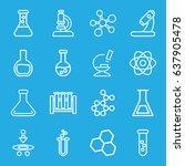 scientific icons set. set of 16 ... | Shutterstock .eps vector #637905478