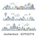set of urban european white... | Shutterstock .eps vector #637910776