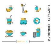 breakfast   set of vector... | Shutterstock .eps vector #637912846