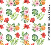 watercolor pattern with... | Shutterstock . vector #637914112