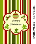 Christmas striped greeting card - green and red with copy space - stock vector