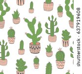 hand drawn cactus pattern | Shutterstock .eps vector #637919608