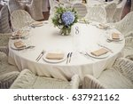 white round table number 8... | Shutterstock . vector #637921162