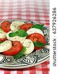 italian cuisine   salad capreze ... | Shutterstock . vector #637926286