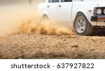 Retro Rally Car Turning In Dir...