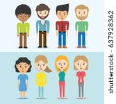 set avatars of men and women of ... | Shutterstock .eps vector #637928362