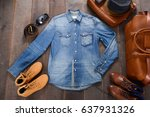 fashionable men set with hat ... | Shutterstock . vector #637931326