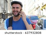 gorgeous man calling by phone... | Shutterstock . vector #637932808