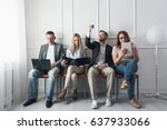 group of young creative people... | Shutterstock . vector #637933066