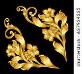 hand draw vintage gold baroque... | Shutterstock .eps vector #637934335