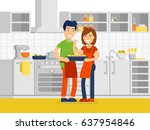 husband and wife are preparing... | Shutterstock .eps vector #637954846