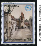 Small photo of RUSSIA KALININGRAD, 15 APRIL 2017: stamp printed by Paraguay, shows Painting Fortyard of Innsbruck by Albrecht Durer, circa 1990