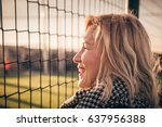 young pretty blond hair smiling ... | Shutterstock . vector #637956388