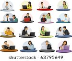 group of business and office... | Shutterstock .eps vector #63795649