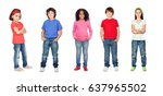 beautiful children isolated on... | Shutterstock . vector #637965502