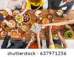 friends dinner table top view.... | Shutterstock . vector #637971256