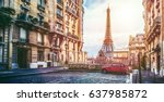 small paris street with view on ... | Shutterstock . vector #637985872