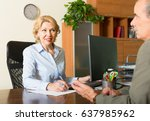 elderly man talking with mature ... | Shutterstock . vector #637985962