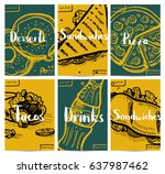 fast food vintage hand drawn... | Shutterstock .eps vector #637987462
