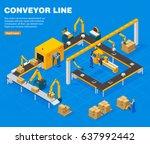 conveyor line isometric concept ... | Shutterstock .eps vector #637992442