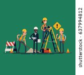 construction workers crew. cool ... | Shutterstock .eps vector #637994812