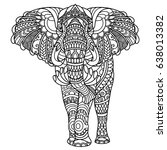 elephant coloring book for... | Shutterstock .eps vector #638013382