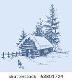 winter landscape sketch   Shutterstock .eps vector #63801724