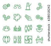 teamwork icons set. set of 16... | Shutterstock .eps vector #638018242