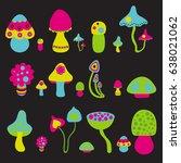 vector set of bright mushrooms | Shutterstock .eps vector #638021062