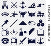 antique icons set. set of 25... | Shutterstock .eps vector #638024596