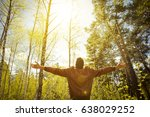 happy man in a park in spring... | Shutterstock . vector #638029252