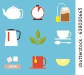tea preparation icon  flat... | Shutterstock .eps vector #638030665