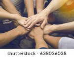 business people join hand... | Shutterstock . vector #638036038