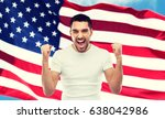 Small photo of emotion, aggression, patriotism, gesture and people concept - angry young man showing fists and shouting over american flag