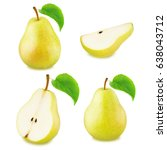 set of yellow pear fruits | Shutterstock . vector #638043712