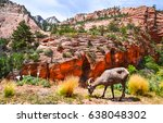 mountain goat grazing mountain... | Shutterstock . vector #638048302