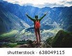 traveler man with backpack on... | Shutterstock . vector #638049115