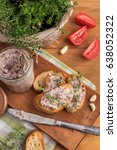 bean pate with garlic and thyme ... | Shutterstock . vector #638052322