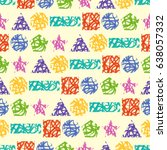 seamless pattern of colorful... | Shutterstock .eps vector #638057332