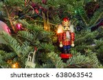 christmas tree with nutcracker | Shutterstock . vector #638063542